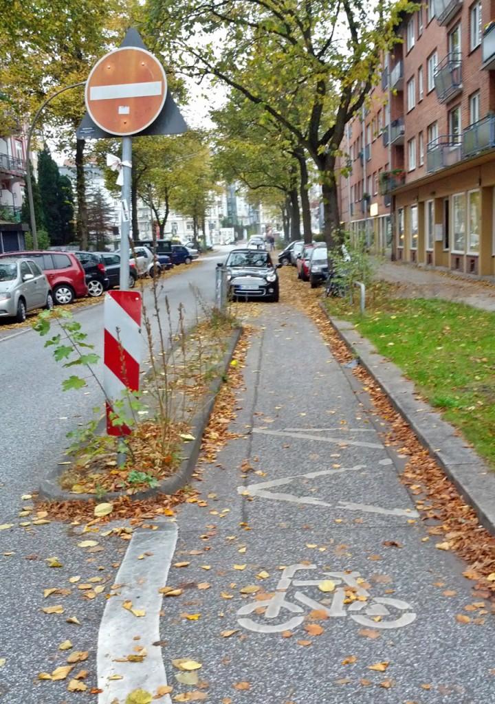 Lustiges Parken auf dem Radstreifen