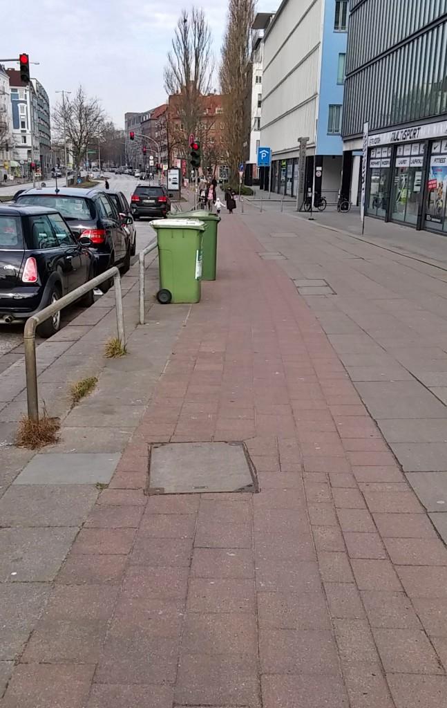 Mülltonnen auf dem Radweg an der Barmbeker Straße