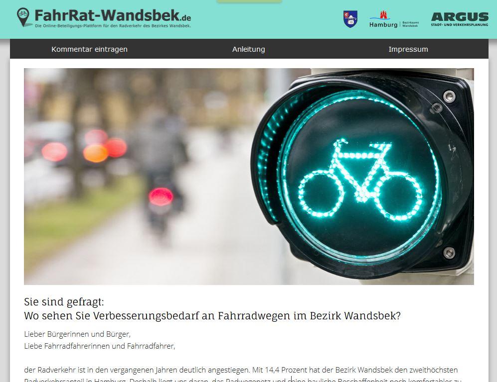 Online-Beteiligungs-Plattform für den Radverkehr des Bezirks Wandsbek