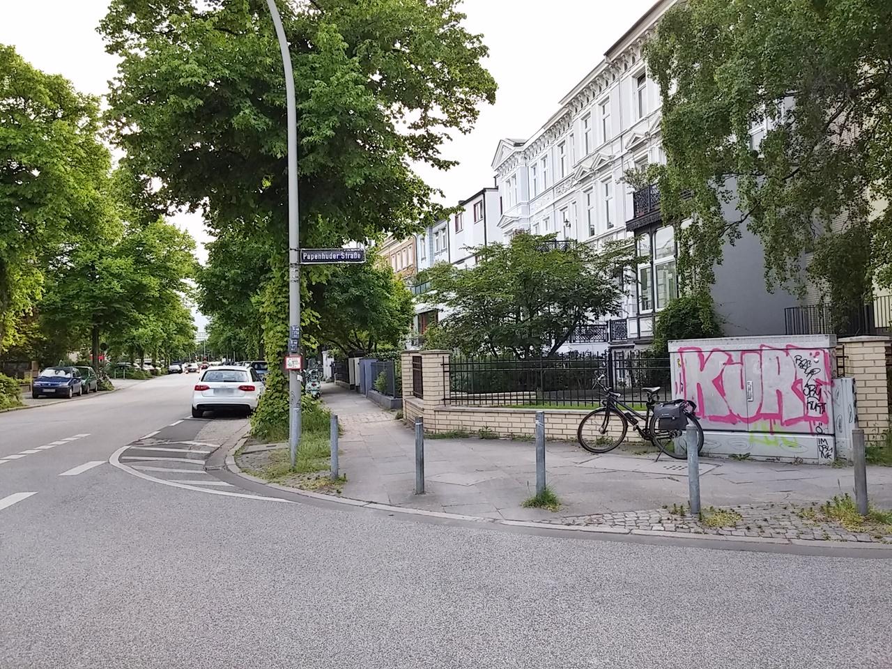 Ecke Graumannsweg / Papenhuder Straße gen St. Georg