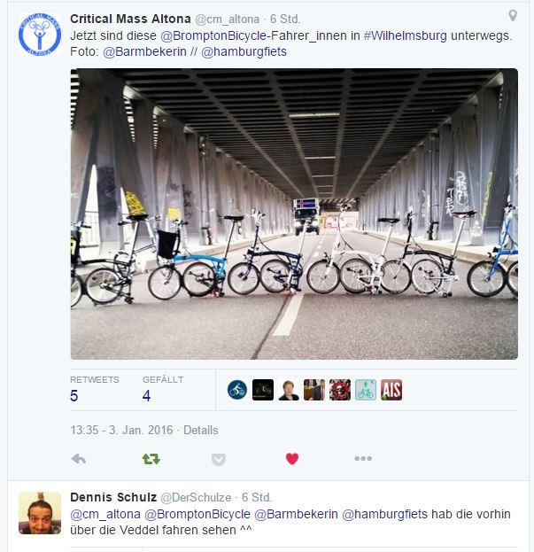 Sechs Faltradfahrer bei -6°C fallen auf