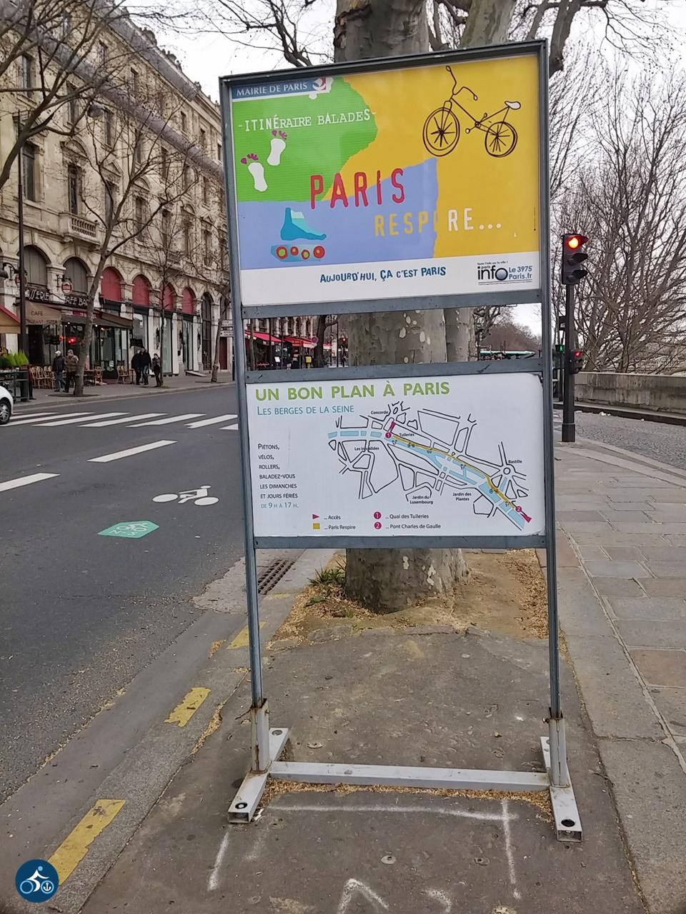 """Hinweis auf """"Paris respire"""" = """"Paris atmet"""" Quai de l'Hôtel de Ville"""