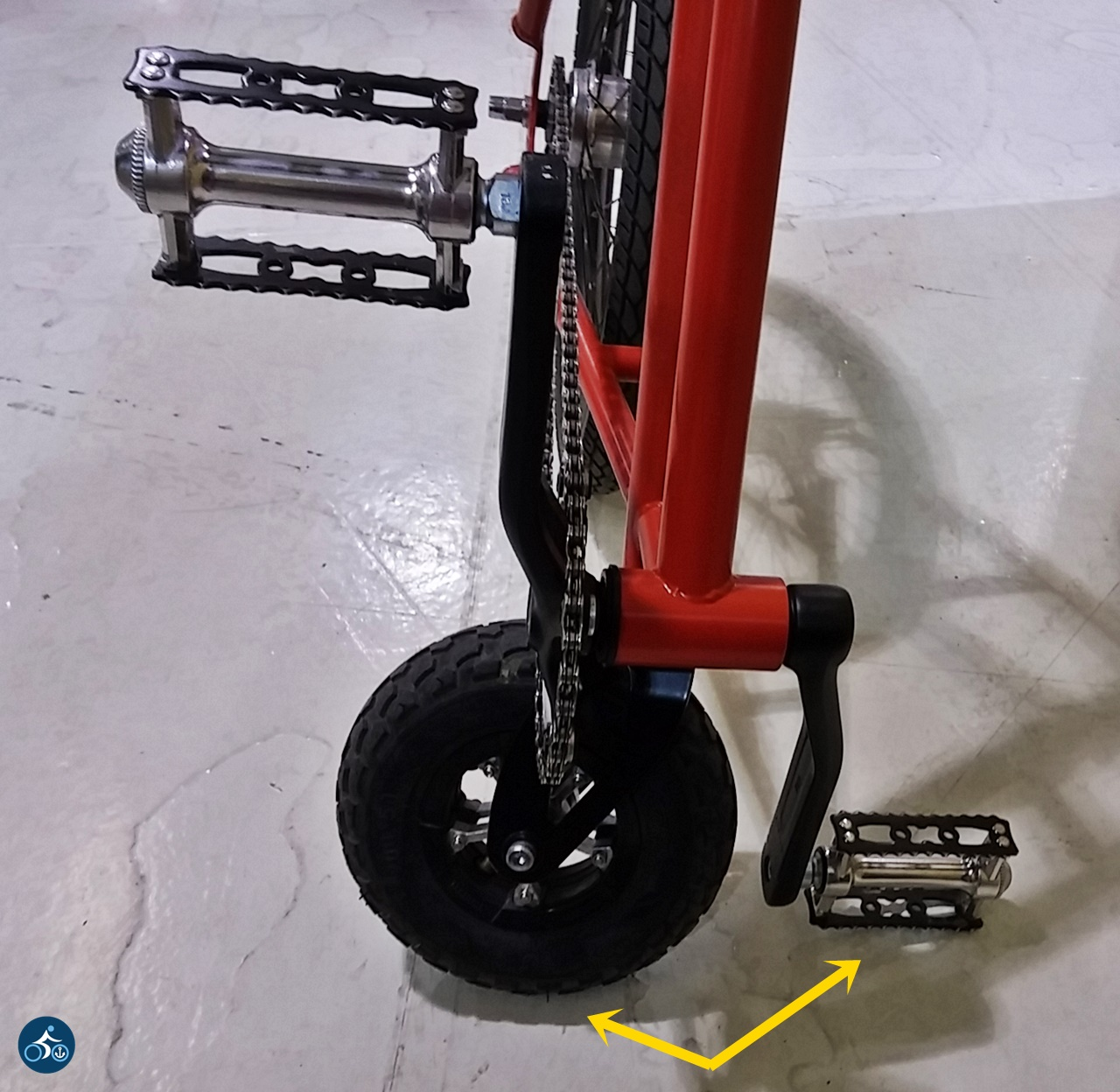 Bewährte Abstellmethode über Vorderrad & Pedal