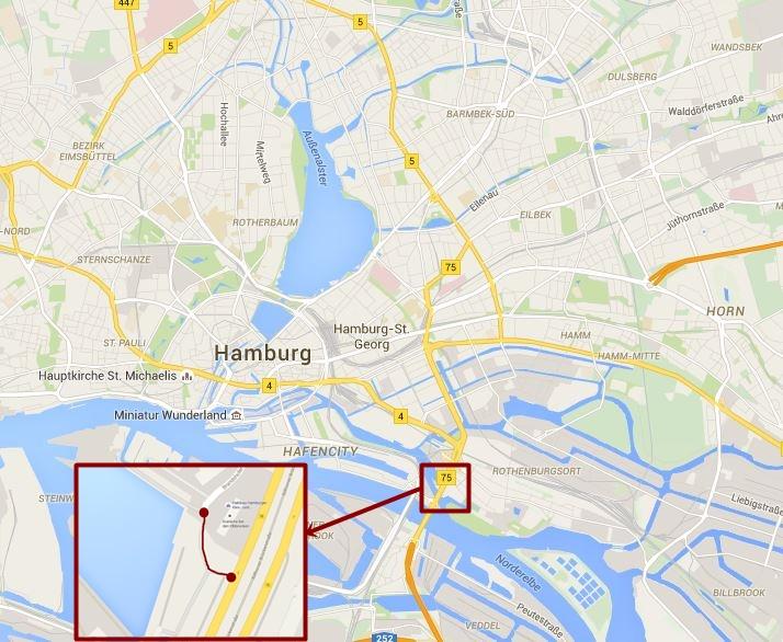 Lage der kürzesten Fahrradstraße Hamburgs