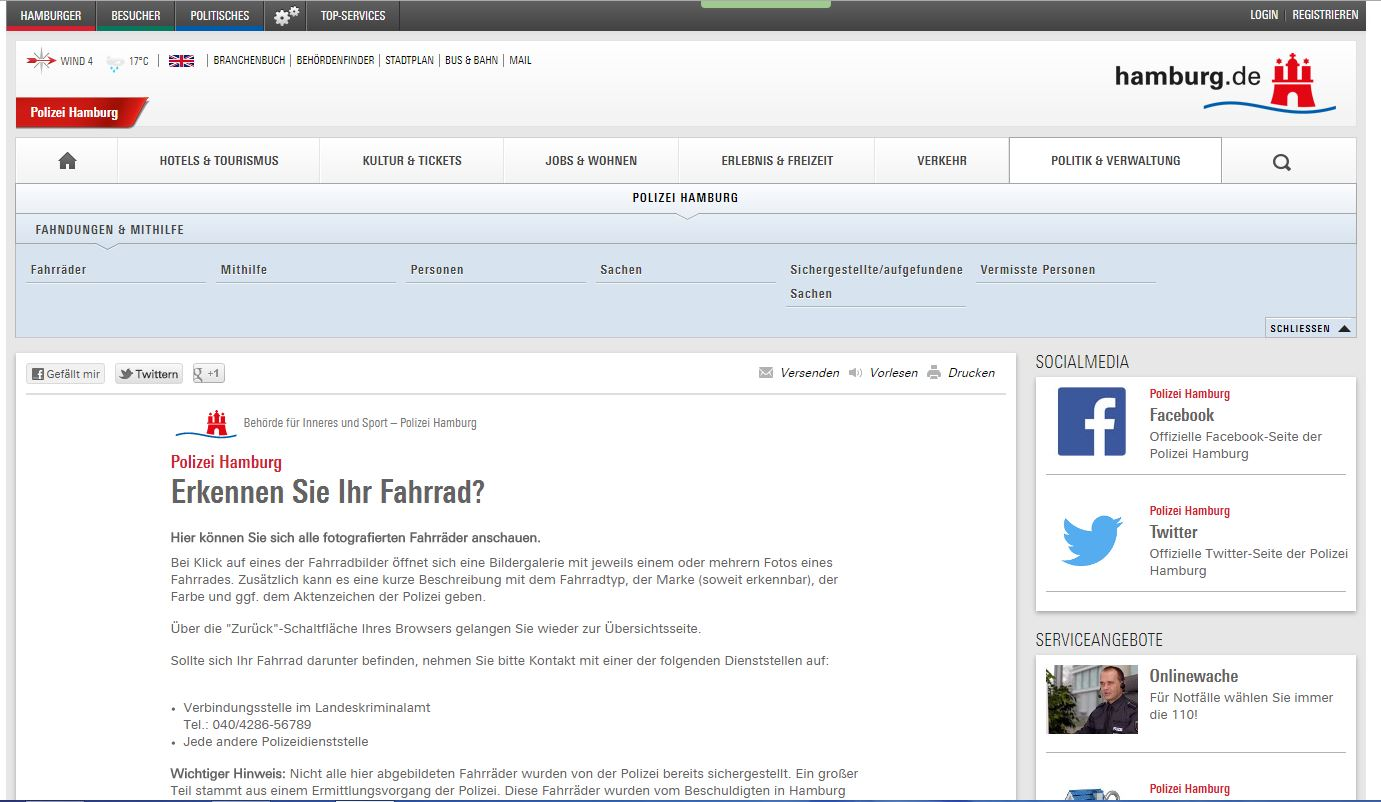 Screenshot des Fahrradportals der Polizei Hamburg
