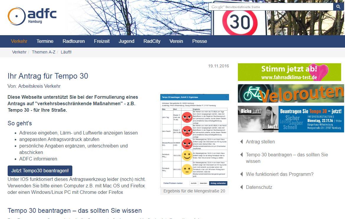 Screenshot der Tempo 30 Antragsseite des ADFC Hamburg